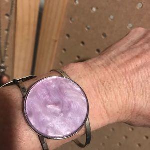 Double strand cuff bracelet w/large lavender swirl